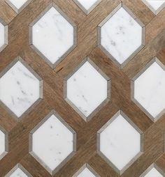 Renaissance Tile and Bath's White Marble and Nougat Wood tile Patterns. One of my favorites!