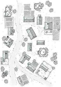 Urban village temple inn road n-s-se farmland winter snow lg Fantasy Map Making, Fantasy City Map, Fantasy Village, Village Map, Urban Village, Pen & Paper, Building Map, Rpg Map, Map Layout
