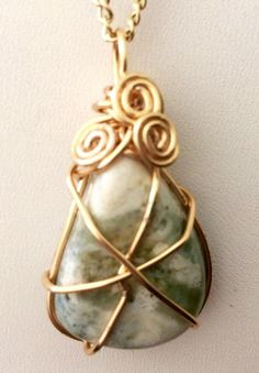 Unique wire wrapped jasper gemstone on a 20 by TROPICALNecklaces