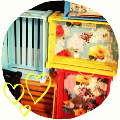 #crate loveliness! #woodencrates #crates #paintedcrates #bright #colourful #patternedcrates #display #abeautifulmess Wooden Crates, Toy Chest, Bright, Display, Storage, Toys, Beautiful, Color, Home Decor