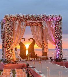 35 Unique and Trending Mandap Decoration Ideas Wedding Reception Backdrop, Wedding Stage Decorations, Wedding Mandap, Desi Wedding, Wedding Centerpieces, Wedding Venues, Beach Decorations, Wedding Beach, Wedding Dresses