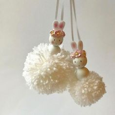 Hi all sharing some Pom Pom bunnies with you this morning. The small bunny is and large is Have a wonderful Monday x Diy And Crafts, Crafts For Kids, Arts And Crafts, Easter Crafts, Christmas Crafts, Pom Pom Crafts, Kegel, Clothespin Dolls, Mothers Day Crafts