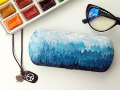 Glass case - sunglasses case - hard sunglass case - box for glasses - eyewear - eyeglass cases - hard eyeglass case forest - forest art