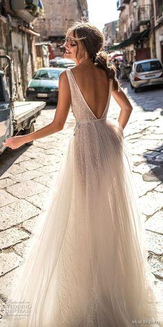 muse berta 2018 bridal sleeveless deep v neck lightly embellished bodice tulle skirt romantic soft a line wedding dress open v back medium train (4) bv -- Muse by Berta 2018 Wedding Dresses