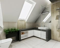 łazienka ze skosami | All-Design Projektowanie wnętrz Kraków, Projekty wnętrz, Architekt Agnieszka Lorenc