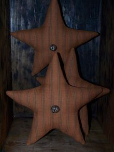 Primitive Star Bowl Fillers ~ Pumpkin Orange Ticking Homespun Ornies ~ Americana #PrimitiveAmericana #Artist