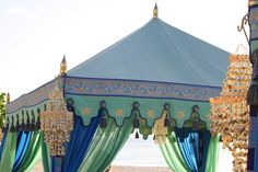 gorgeous green and blue raj tents on seven mile beach in grand cayman for #engage11