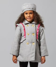 Gray & Pink Ruffle Swing Coat & Hat - Infant, Toddler & Girls by Penelope Mack on #zulily