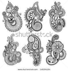 black line art ornate flower design collection, ukrainian ethnic style, autotrace of hand drawing by karakotsya, via ShutterStock