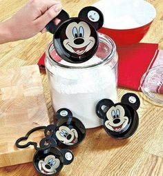 Mickey Mouse 8 Piece Measuring Set . $23.79. Mickey couldn't be any cuter smiling up to you as you and  your children measure out cups and spoon amounts. Add the perfect amount of magic to every recipe with this  8-piece set of cups and measuring spoons. The cups are: 1, 1/2, 1/3, 1/4 and the spoons are: 1 Tbsp, 1 tsp, 1/2 tsp and 1/4 tsp.