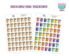 Grocery Bag Doodle Stickers, Planner stickers, for Erin Condren Planner, Filofax, Life Planner Stickers, Kikki K, Happy Planner Stickers. de SandiaStickers en Etsy