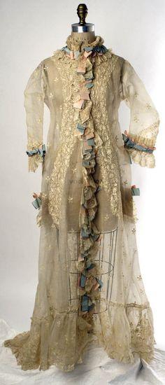 Peignoir  Date:     1874–77 Culture:     French Medium:     cotton, silk