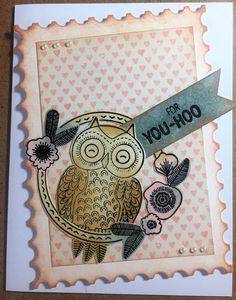 This card uses supplies from the January Love from Lizi card kit. The postage stamp die comes from Hero Arts.