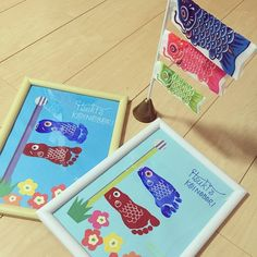 Koinobori-Japanese carp kite streamers footprint New Year's Crafts, Diy Crafts For Kids, Baby Crafts, Children's Day Craft, Baby Finger Paint, Hand Art Kids, Japanese Kids, Footprint Art, Baby Footprints