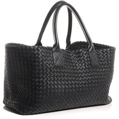 BOTTEGA VENETA Nappa Intrecciato Medium Cabat Nero Black ❤ liked on Polyvore featuring bags, handbags, tote purse, bottega veneta tote, woven tote bags, black tote and black tote handbag