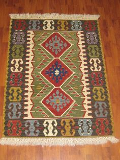 FREE SHIPPING Old Handwoven Turkish Anatolian Wool Kilim Rug by HandcraftMade, $449.00
