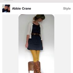 Mustard tights with Navy.