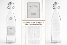Embossed Glass Water Bottle Mockup by Jost Family Jewels on Creative Market