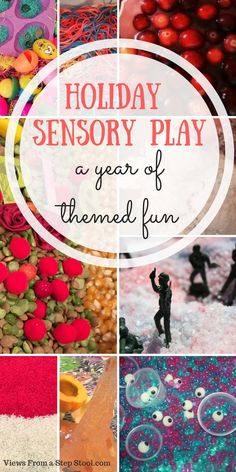 An entire year of holiday sensory play ideas! Celebrate the holidays with these fun themed activities from sensory bins to homemade play dough!