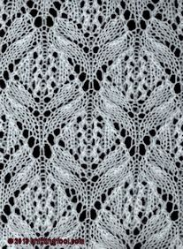 Knitting Fool dot com - database of more than 2400 stitches and motifs - alphabetical, by stitch count, and by row count Lace Knitting Stitches, Lace Knitting Patterns, Knitting Charts, Lace Patterns, Free Knitting, Knitting Designs, Stitch Patterns, Crochet Video, Knit Or Crochet