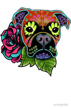Day of the Dead Boxer Sticker - Sugar Skull Dog Decal, by Pretty In Ink.