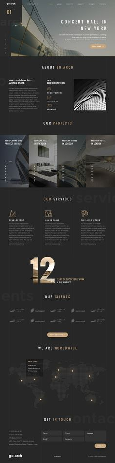 arch is a luxury, elegant and trendy designed in two color styles: Dark & Light bureau, interior design, constructions, photographers and other corporate or creat Web Design Trends, Design Web, Layout Design, Layout Web, Visual Design, Website Design Layout, Design Agency Website, Corporate Website Design, Webdesign Layouts