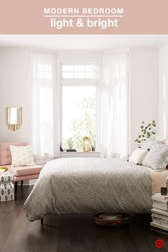 A light and airy bedroom has summer written all over it, but you can't be blamed for wanting to update the 'ole white on white look. A fresh take from Nate Berkus: Subtle patterns and new neutrals (heathered greys, creams, and blush). The trick is layering geometric patterns in various shape and size for max interest.