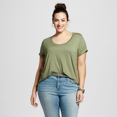 1fe2703edc2 The Women s Plus Size Perfect Tee by Ava   Viv™ has a softer fit and feel  which makes it drape in the most flattering way. This plus size t-shirt  instantly ...