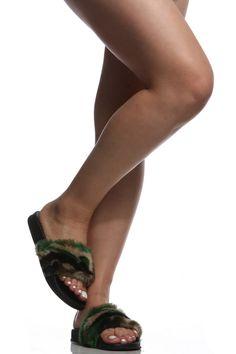 2754e2b8da9045 Camo Faux Fur Slide Sandals   Cicihot Sandals Shoes online store sale  Sandals