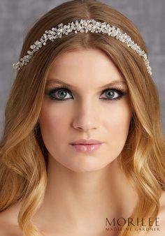 Morilee   Madeline Gardner, Wedding Headpiece style HP2020. Crystal, Rhinestone and Freshwater Pearl Bridal Hair Vine Headband. Hair Accessories Available in Silver.
