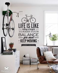 "Wall stickers quotes ""Life is like riding a bicycle"""