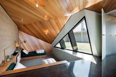 giant triangle window / room. wonderful.