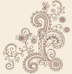 Hand-Drawn Henna Mehndi Paisley Doodle Flowers and Vines- Vector Illustration Design Elements - stock vector Paisley Doodle, Henna Doodle, Doodle Tattoo, Henna Art, Doodle Art, Mehndi Tattoo, Kritzelei Tattoo, Tattoo Hand, Arte Madi