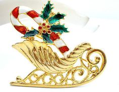 Christmas Sleigh Candy Cane Enamel Pin Vintage Holiday Brooch
