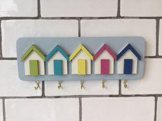 Seaside. Shabby Chic Beach Hut Key Rack, 'Seaside' Colour Scheme. Five Hooks for Keys, Handmade, Green, Aqua, Yellow, Pink and Blue