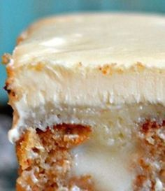 Easy White Chocolate Carrot Poke Cake by Food- Mafia  1 box carrot cake mix, 1 small box white chocolate pudding mix, 1 can sweetened condensed milk, 1 3/4 cup of milk