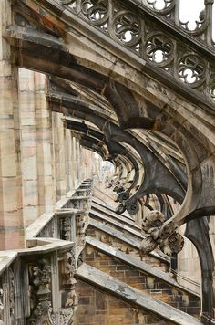 Flying buttresses on the roof terrace of the Milan Cathedral.