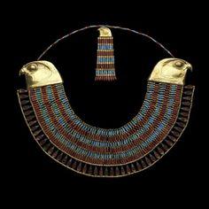 Falcon Collar of the Princess Neferuptah, 12th dynasty, gold, carnelian, and feldspar.