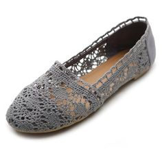 New crochet flats Brand new, grey crochet flats. Size on the shoe says 7/8 but they would fit a 6 best.  I purchased them on Amazon and the brand is Chatties. Chatties Shoes Slippers