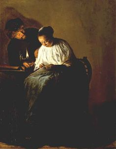 JUDITH LEYSTER  ( Haarlem 1609 - Heemstede 1660 ). A MAN OFFERING GOLD TO A YOUNG WOMAN. 1631. oil on panel. 30,9 × 24,2 cm.