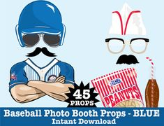 Baseball Photo Booth Props, Retro Baseball Party, Baseball Birthday, Vintage Baseball Party - Instant Download PDF - 45 DIY Printable Props $6.99