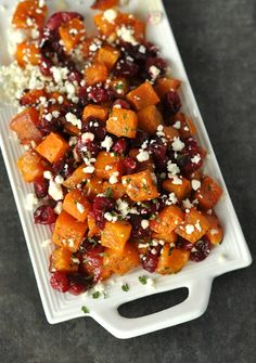 Honey Roasted Butternut Squash with Cranberries and Feta.