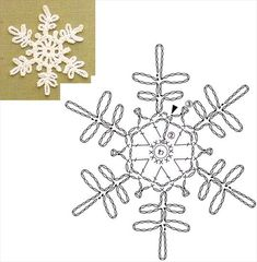 Ideas For Knitting Charts Star Crochet Snowflakes Crochet Snowflake Pattern, Crochet Stars, Crochet Motifs, Christmas Crochet Patterns, Crochet Snowflakes, Thread Crochet, Crochet Doilies, Crochet Flowers, Crochet Christmas Decorations