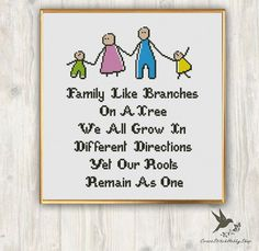 Cross Stitch Pattern Family Like Branches Needlecraft