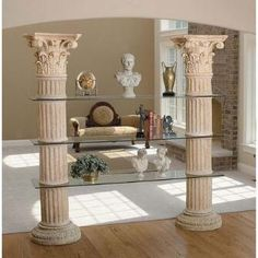 """Columns of Corinth Shelves """"A historic work of distinction to rise as the crowning jewel of your home""""   ROFLMAO"""