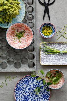 Opdrachtgever, Millermedia voor Tokyo Design Studio. Styling, Iris van der Meer. Fotografie, Peggy Janssen. Servies, tableware, ceramics, food, colorful, blue, red, herbs, oil, chive, still Tokyo Design, Pip Studio, Deco, Food Styling, Iris, Pottery, Plates, Ceramics, House Styles