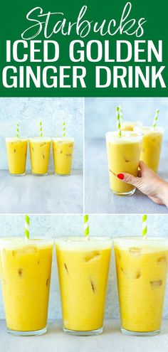 This bright yellow Iced Golden Ginger Drink is made with coconut milk, turmeric, cinnamon, pineapple and ginger - just like the version at Starbucks! #starbucks #icedgoldengingerdrink Ginger Shot, Ginger Drink, Ginger Syrup, Ginger Juice, Coconut Milk Drink, Coconut Milk Smoothie, Coconut Milk Recipes, Unsweetened Coconut Milk, Recipes
