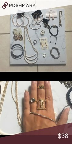 Jewelry Bundle Lot✨ All of this jewelry (15 total) is brand new or worn very few times! 1 Necklace (Urban I believe), 3 bracelets (Di charm bracelet is from Diamond International), 5 bangles all brassy/brown colored, 3 rings (various sizes 7-9), 2 pairs of rose gold hoop earrings, 4 various dangly earrings, & a knuckle accessory (size depends on how big or small your hands are I have big ones lol). If there are certain things you'd like removed/separated lmk💕 Urban Outfitters Jewelry
