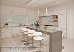 Contemporary Design by Randall Shaw, Nordic Kitchen and Baths Inc. - LA  ~Holiday Kitchens' Cucina di festa, Vetrina Door, Gloss white Acrilux ~Elevated glass island top surround by CaesarStone Quartz  ~All integrated Subzero/wolf appliances: wine cellar, ice maker, microwave drawer