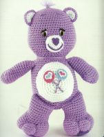 This link takes you to a BUNCH of free patterns, I have actually made the Lucky carebear and he turned out super cute!